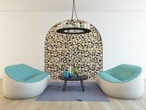 Sofas et bois de chauffage Photos libres de droits