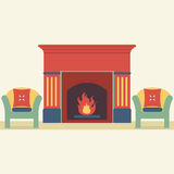 Sofas And Fireplace Living Room Interior. Illustration Stock Images