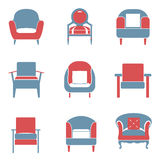 Sofas Icons Set Duotone Stock Image