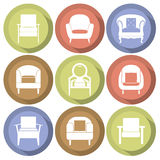 Sofas Icons Set Flat Design Stock Photography