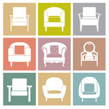 Sofas Icons Set On Square Background Royalty Free Stock Photos
