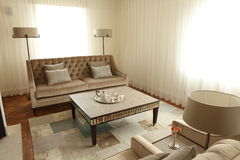 Sofas lamps and coffee table in home lounge room Stock Photo