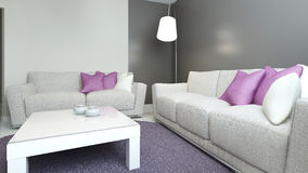 Sofas and low table in contemporary lounge Royalty Free Stock Photos