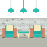 Sofas With Modern Lamp On Brick Background Royalty Free Stock Images
