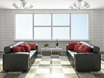 Sofas  with red pillows Royalty Free Stock Image