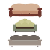 Sofas Set Flat Vector Illustration Stock Images