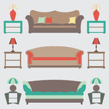 Sofas Set. Flat Vector Illustration. Side Table.Lable Lamp royalty free illustration