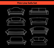 Sofas Set in Line Art Style Royalty Free Stock Photo