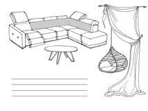 Soffa för hängestolvind Arkivfoton