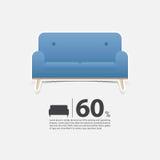 Soffa i den plana designen för vardagsruminre Minsta soffasymbol för möblemangförsäljningsaffisch Blå soffa på vit bakgrund Fotografering för Bildbyråer