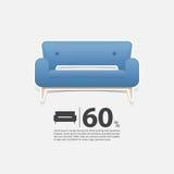 Soffa i den plana designen för vardagsruminre Minsta soffasymbol för möblemangförsäljningsaffisch Blå soffa på vit bakgrund Arkivbild