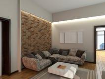 Soffa i tolkningen för rum 3d arkivbild