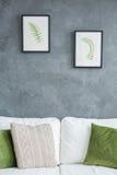 Soffa med grönkålgräsplankuddar arkivbilder