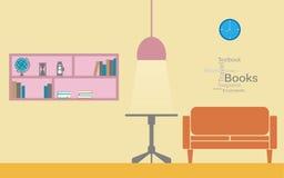 Soffa och bokhylla för modern design inre Arkivfoton