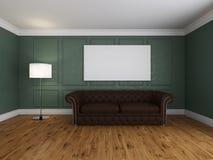 Soffa och ram i tolkningen för rum 3d arkivbild