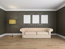 Soffa och ram i tolkningen för rum 3d royaltyfri bild