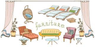 Soffa-tabell färgbaner Arkivfoto