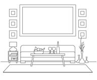 Soffa tabell, vas med blommor Nattduksbord skrivbordlampa Ram på väggen för montering av din information Linjärt skissa av inten vektor illustrationer