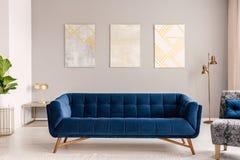 Soffaanseende för kungliga blått i verkligt foto av ljus - grå vardagsruminre med guld- lampor och tre enkla målningar arkivfoto