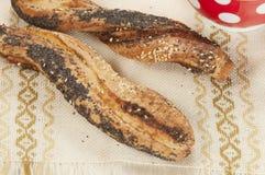 Soffi (panini) con il papavero e il seasame Fotografia Stock Libera da Diritti