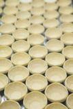 Soffio della crostata dell'uovo nella fila Fotografia Stock Libera da Diritti