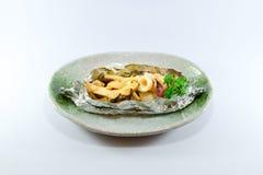 Soffio giapponese del calamaro su fondo bianco Immagine Stock
