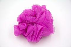 Soffio rosa molle del bagno su fondo bianco immagini stock libere da diritti