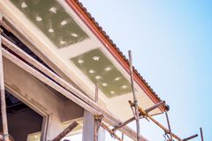 Soffit and Fascia Board Installation Royalty Free Stock Photo