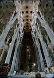 Soffitto all'interno di Sagrada Familia Fotografia Stock