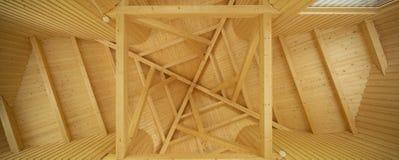 Soffitto con il modello geometrico dei fasci di legno fotografie stock