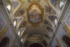 Soffitto decorato con l'affresco di Amelia Duomo, Umbria, Italia fotografia stock libera da diritti