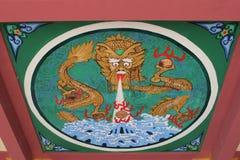 Soffitto decorato variopinto in un tempio nelle sette rupe parco nazionale, Zhaoqing, Cina della stella Fotografia Stock Libera da Diritti