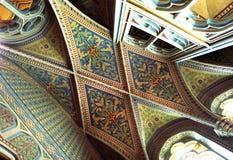 Soffitto dentro la chiesa di Matthias, Budapest, Ungheria Fotografia Stock
