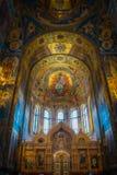 Soffitto di verniciatura della chiesa del salvatore sul sangue in San Pietroburgo, Russia Spilled immagini stock libere da diritti