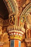 Soffitto e colonne ornamentali nel corridoio dharbar del corridoio di ministero del palazzo di maratha del thanjavur Immagine Stock Libera da Diritti