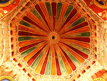 Soffitto ornamentale nel corridoio dharbar del corridoio di ministero del palazzo di maratha del thanjavur Immagine Stock