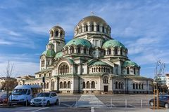 SOFIA, ΒΟΥΛΓΑΡΙΑ - 7 ΝΟΕΜΒΡΊΟΥ 2017: Χρυσοί θόλοι του καθεδρικού ναού Άγιος Αλέξανδρος Nevski στη Sofia στοκ εικόνες με δικαίωμα ελεύθερης χρήσης