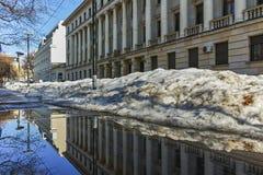 SOFIA, ΒΟΥΛΓΑΡΙΑ - 5 ΦΕΒΡΟΥΑΡΊΟΥ 2017: Χειμερινή άποψη της οικοδόμησης του υπουργείου Αμύνης στη Sofia Στοκ Φωτογραφίες