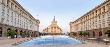 Sofia bij Zonsondergang - Bulgarije stock afbeelding