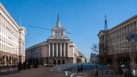 SOFIA BUŁGARIA, GRUDZIEŃ, - 20, 2016: Budynki rada ministrów i Poprzedni partia komunistyczna dom w Sofia Obrazy Royalty Free
