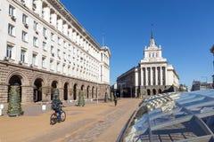 SOFIA BUŁGARIA, KWIECIEŃ, - 1, 2017: Budynki rada ministrów i Poprzedni partia komunistyczna dom w Sofia Zdjęcia Royalty Free