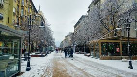 Sofia Bułgaria, Styczeń, - 22, 2018: Sofia zwyczajny chodzący str zdjęcia royalty free