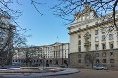 SOFIA BUŁGARIA, LUTY, - 5, 2017: Zima widok Poprzedni partia komunistyczna dom w Sofia Fotografia Stock