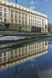 SOFIA BUŁGARIA, LUTY, - 5, 2017: Zima widok Poprzedni partia komunistyczna dom w Sofia Obrazy Stock