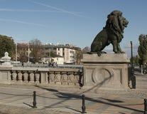 SOFIA, BULGAIRA - OCTOBER 09, 2017: Lion bridge, build in 1889 y Stock Photos