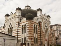 SOFIA, BULGAIRA - OCTOBER 09, 2017: synagogue of Sofia, built in 1909 year. Royalty Free Stock Photos