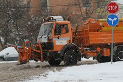 Sofia, Bulgaria – Feb 26, 2018: A snowplow machine cleans streets from snow after big snowstorm. Sofia, Bulgaria – Feb 26, 2018: A snowplow machine Royalty Free Stock Photo