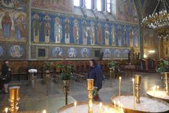Frescoes on the interior walls of St. Kyriaki church royalty free stock images
