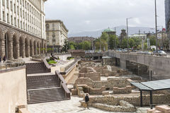 SOFIA, BULGARIA - APRIL  14, 2016: Archaeological excavation of Royalty Free Stock Image