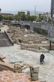SOFIA, BULGARIA - APRIL  14, 2016: Archaeological excavation of Royalty Free Stock Photography
